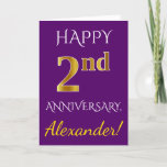 [ Thumbnail: Purple, Faux Gold 2nd Wedding Anniversary + Name Card ]