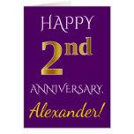 [ Thumbnail: Purple, Faux Gold 2nd Wedding Anniversary + Name Card ]