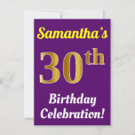 [ Thumbnail: Purple, Faux Gold 30th Birthday Celebration + Name Invitation ]