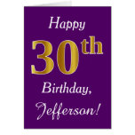 [ Thumbnail: Purple, Faux Gold 30th Birthday + Custom Name ]