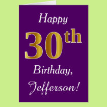 Purple, Faux Gold 30th Birthday   Custom Name Card
