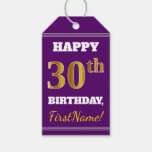 [ Thumbnail: Purple, Faux Gold 30th Birthday + Custom Name Gift Tags ]