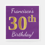 [ Thumbnail: Purple, Faux Gold 30th Birthday + Custom Name Napkin ]
