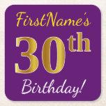 [ Thumbnail: Purple, Faux Gold 30th Birthday + Custom Name Paper Coaster ]