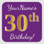 [ Thumbnail: Purple, Faux Gold 30th Birthday + Custom Name Sticker ]