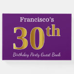 [ Thumbnail: Purple, Faux Gold 30th Birthday Party; Custom Name Guest Book ]