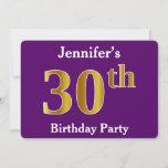 [ Thumbnail: Purple, Faux Gold 30th Birthday Party; Custom Name Invitation ]