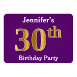 [ Thumbnail: Purple, Faux Gold 30th Birthday Party; Custom Name Invitation ]