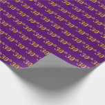 [ Thumbnail: Purple, Faux Gold 30th (Thirtieth) Event Wrapping Paper ]