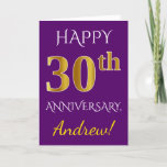 [ Thumbnail: Purple, Faux Gold 30th Wedding Anniversary + Name Card ]