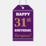 [ Thumbnail: Purple, Faux Gold 31st Birthday + Custom Name Gift Tags ]