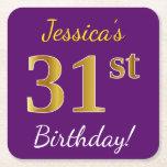 [ Thumbnail: Purple, Faux Gold 31st Birthday + Custom Name Paper Coaster ]