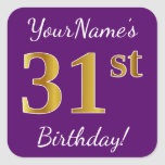 [ Thumbnail: Purple, Faux Gold 31st Birthday + Custom Name Sticker ]