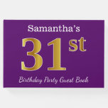 [ Thumbnail: Purple, Faux Gold 31st Birthday Party; Custom Name Guest Book ]