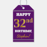 [ Thumbnail: Purple, Faux Gold 32nd Birthday + Custom Name Gift Tags ]