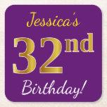 [ Thumbnail: Purple, Faux Gold 32nd Birthday + Custom Name Paper Coaster ]