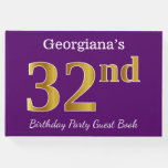 [ Thumbnail: Purple, Faux Gold 32nd Birthday Party; Custom Name Guest Book ]