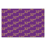 [ Thumbnail: Purple, Faux Gold 32nd (Thirty-Second) Event Tissue Paper ]