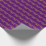 [ Thumbnail: Purple, Faux Gold 32nd (Thirty-Second) Event Wrapping Paper ]