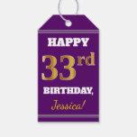 [ Thumbnail: Purple, Faux Gold 33rd Birthday + Custom Name Gift Tags ]