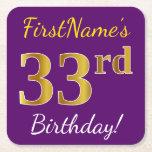 [ Thumbnail: Purple, Faux Gold 33rd Birthday + Custom Name Paper Coaster ]