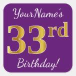 [ Thumbnail: Purple, Faux Gold 33rd Birthday + Custom Name Sticker ]