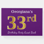 [ Thumbnail: Purple, Faux Gold 33rd Birthday Party; Custom Name Guest Book ]