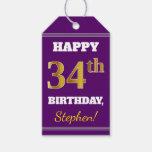 [ Thumbnail: Purple, Faux Gold 34th Birthday + Custom Name Gift Tags ]