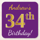 [ Thumbnail: Purple, Faux Gold 34th Birthday + Custom Name Paper Coaster ]