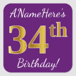 [ Thumbnail: Purple, Faux Gold 34th Birthday + Custom Name Sticker ]