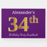 [ Thumbnail: Purple, Faux Gold 34th Birthday Party; Custom Name Guest Book ]