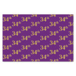 [ Thumbnail: Purple, Faux Gold 34th (Thirty-Fourth) Event Tissue Paper ]