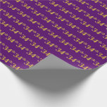 [ Thumbnail: Purple, Faux Gold 34th (Thirty-Fourth) Event Wrapping Paper ]