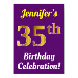 [ Thumbnail: Purple, Faux Gold 35th Birthday Celebration + Name Invitation ]