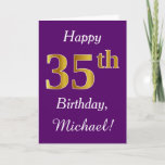 [ Thumbnail: Purple, Faux Gold 35th Birthday + Custom Name Card ]
