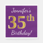 [ Thumbnail: Purple, Faux Gold 35th Birthday + Custom Name Napkin ]