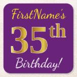 [ Thumbnail: Purple, Faux Gold 35th Birthday + Custom Name Paper Coaster ]