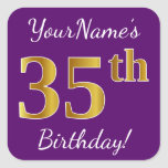 [ Thumbnail: Purple, Faux Gold 35th Birthday + Custom Name Sticker ]