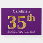 [ Thumbnail: Purple, Faux Gold 35th Birthday Party; Custom Name Guest Book ]