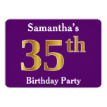 [ Thumbnail: Purple, Faux Gold 35th Birthday Party; Custom Name Invitation ]