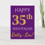 [ Thumbnail: Purple, Faux Gold 35th Wedding Anniversary + Name Card ]