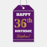 [ Thumbnail: Purple, Faux Gold 36th Birthday + Custom Name Gift Tags ]