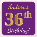 [ Thumbnail: Purple, Faux Gold 36th Birthday + Custom Name Paper Coaster ]