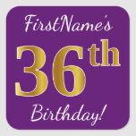 [ Thumbnail: Purple, Faux Gold 36th Birthday + Custom Name Sticker ]