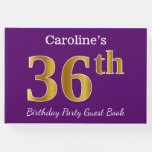 [ Thumbnail: Purple, Faux Gold 36th Birthday Party; Custom Name Guest Book ]