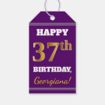 [ Thumbnail: Purple, Faux Gold 37th Birthday + Custom Name Gift Tags ]