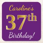 [ Thumbnail: Purple, Faux Gold 37th Birthday + Custom Name Paper Coaster ]