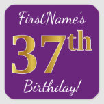 [ Thumbnail: Purple, Faux Gold 37th Birthday + Custom Name Sticker ]