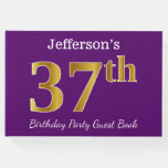 [ Thumbnail: Purple, Faux Gold 37th Birthday Party; Custom Name Guest Book ]