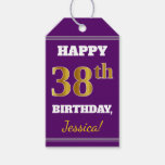 [ Thumbnail: Purple, Faux Gold 38th Birthday + Custom Name Gift Tags ]